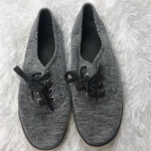 Keds Grey Heathered Canvas Lace Up 8